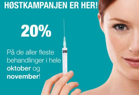 20% på nesten alle behandlinger ut november!